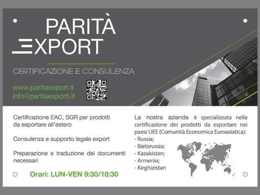 Targa da esterno – Parità Export