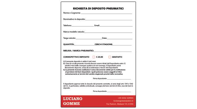 Moduli Autoricalcanti A5 – Luciano Gomme